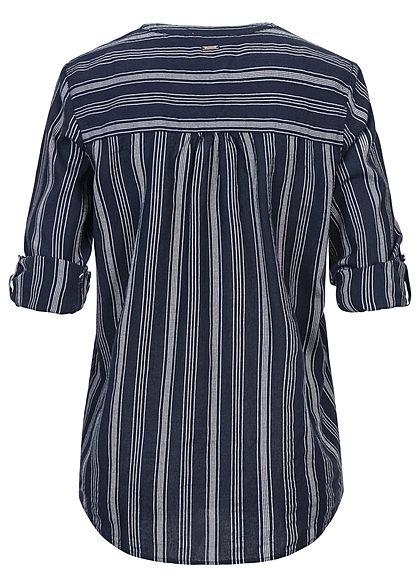 Tom Tailor Damen V-Neck Turn-up Bluse Tunika Streifen Muster navy blau weiss