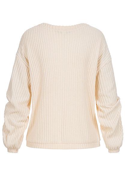 Tom Tailor Damen Ribbed V-Neck Pullover creme beige melange