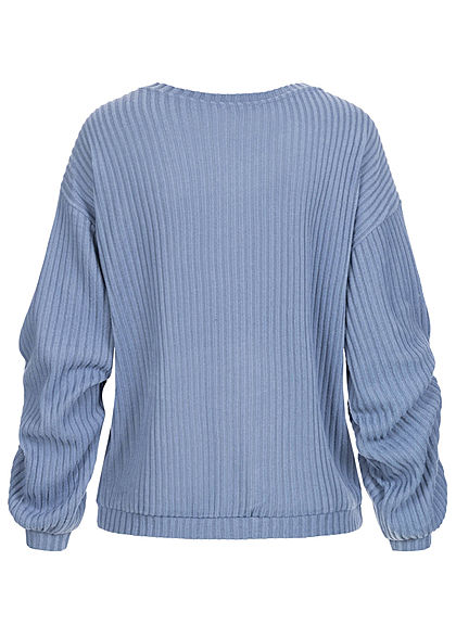 Tom Tailor Damen Ribbed V-Neck Pullover soft mid blau