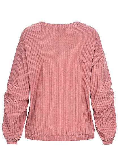 Tom Tailor Damen Ribbed V-Neck Pullover cozy rosa