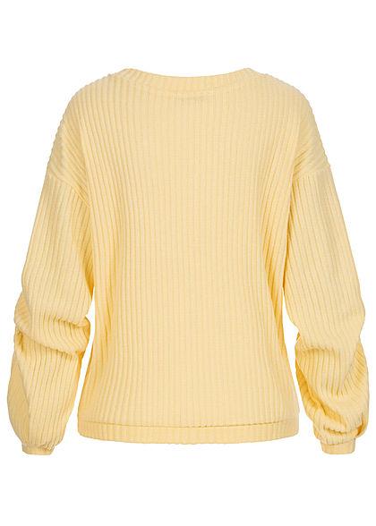 Tom Tailor Damen Ribbed V-Neck Pullover soft gelb