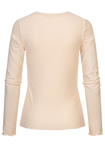 Tom Tailor Damen Ribbed Frill Longsleeve soft creme beige