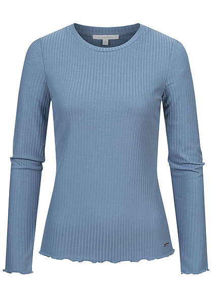 Tom Tailor Damen Ribbed Frill Longsleeve soft mid blau - Art.-Nr.: 21010020