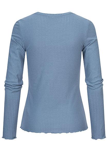 Tom Tailor Damen Ribbed Frill Longsleeve soft mid blau