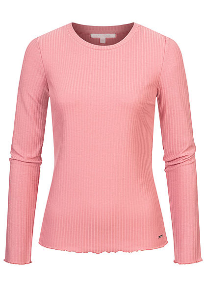 Tom Tailor Damen Ribbed Frill Longsleeve cozy rosa - Art.-Nr.: 21010021