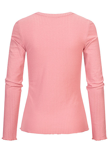 Tom Tailor Damen Ribbed Frill Longsleeve cozy rosa