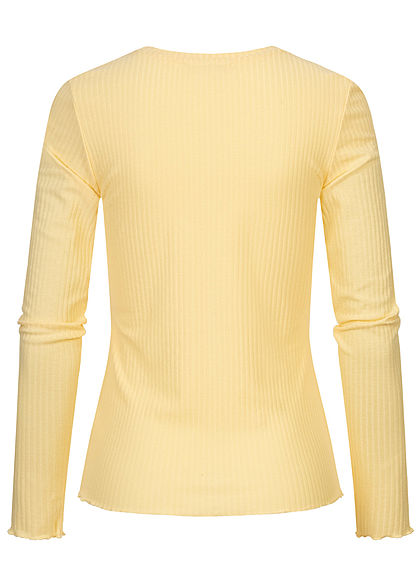 Tom Tailor Damen Ribbed Frill Longsleeve soft gelb