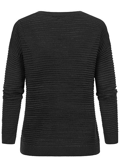 Tom Tailor Damen V-Neck Struktur Strick Pullover schwarz