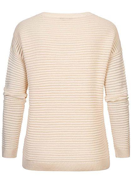 Tom Tailor Damen V-Neck Struktur Strick Pullover soft creme beige