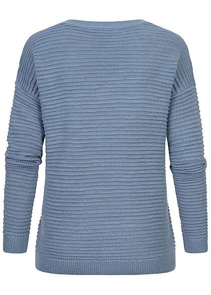 Tom Tailor Damen V-Neck Struktur Strick Pullover soft mid blau