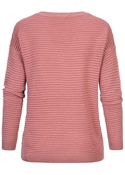 Tom Tailor Damen V-Neck Struktur Strick Pullover cozy rosa