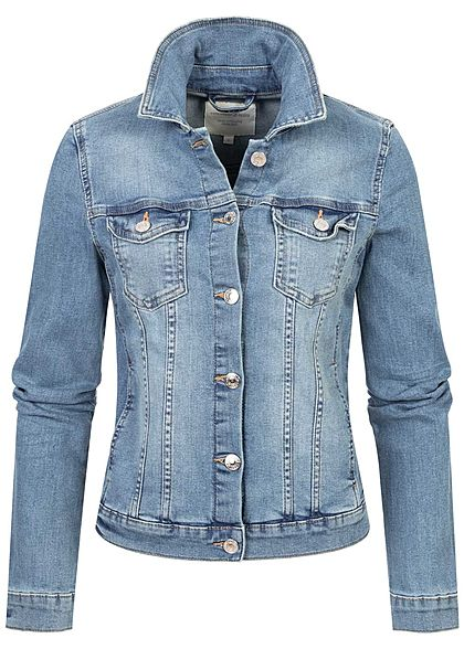 Tom Tailor Damen Jeans Jacke Knopfleiste 2 Brusttaschen stone used hell blau denim - Art.-Nr.: 21010028