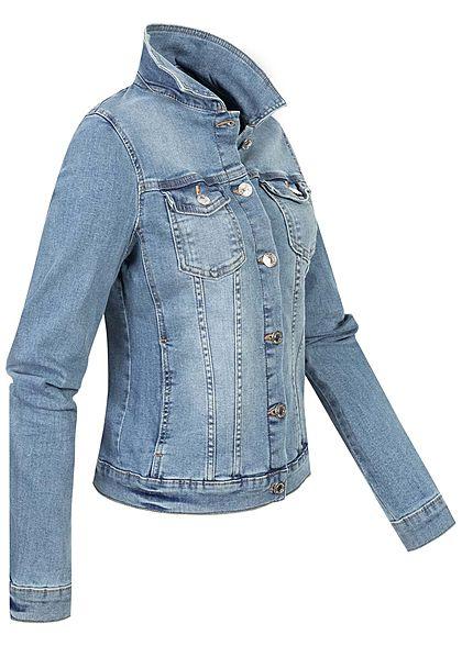 Tom Tailor Damen Jeans Jacke Knopfleiste 2 Brusttaschen stone used hell blau denim
