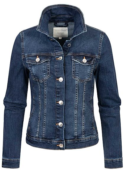 Tom Tailor Damen Jeans Jacke Knopfleiste 2 Brusttaschen stone used mid blau denim - Art.-Nr.: 21010029