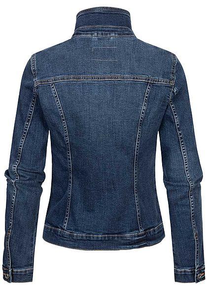 Tom Tailor Damen Jeans Jacke Knopfleiste 2 Brusttaschen stone used mid blau denim