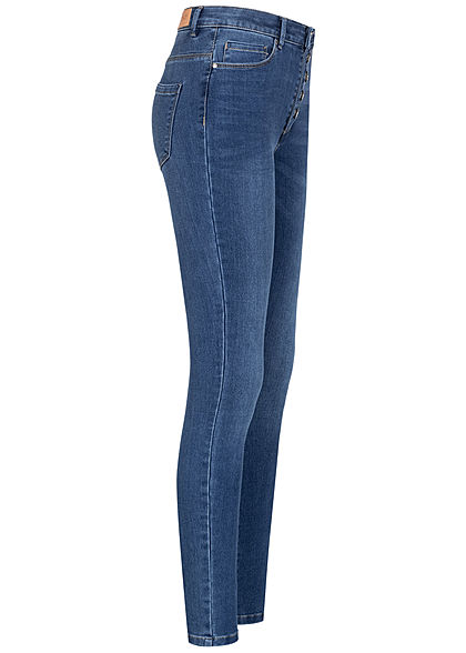 ONLY Damen Skinny Jeans Hose High-Waist 5-Pockets medium blau denim