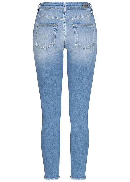 ONLY Damen Ankle Skinny Jeans Hose 5-Pockets Crash Optik Fransen hell blau denim