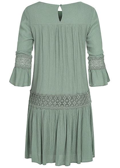 ONLY Damen 3/4-Arm Mini Krepp Kleid Häkelbesatz 2-lagig chinois grün