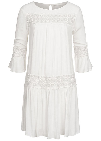 ONLY Damen 3/4-Arm Mini Krepp Kleid Häkelbesatz 2-lagig cloud dancer weiss
