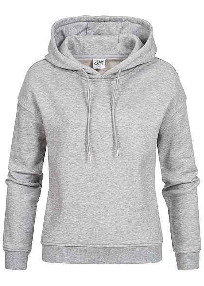 Urban Classics Damen Basic Hoodie mit Kapuze medium grau