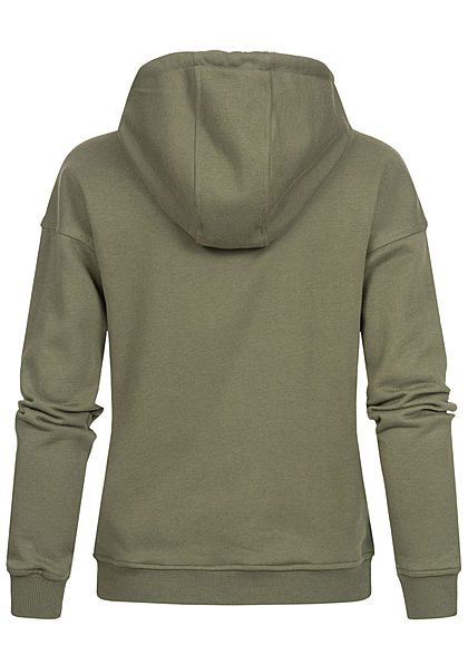 Urban Classics Damen Basic Hoodie mit Kapuze oliv grün