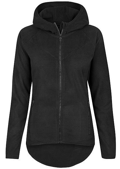 Urban Classics Damen Polar Fleece Zip Hoodie mit Kapuze schwarz