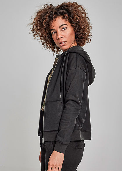 Urban Classics Damen Zip Hoodie Sweat Jacke Kapuze 2-Pockets schwarz