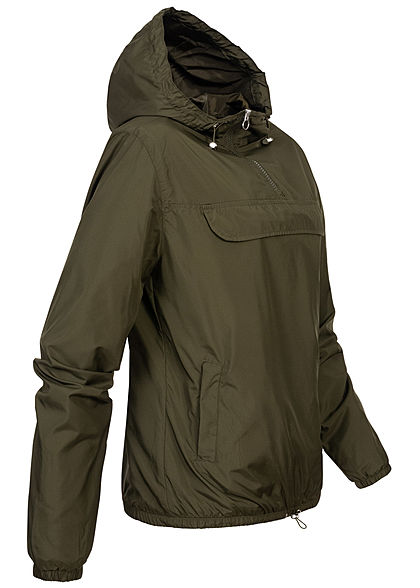 Urban Classics Damen Pull Over Jacke Windbreaker Kapuze Deko Tasche vorne dunkel oliv grün