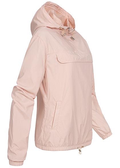 Urban Classics Damen Pull Over Jacke Windbreaker Kapuze Deko Tasche vorne hell rosa pink