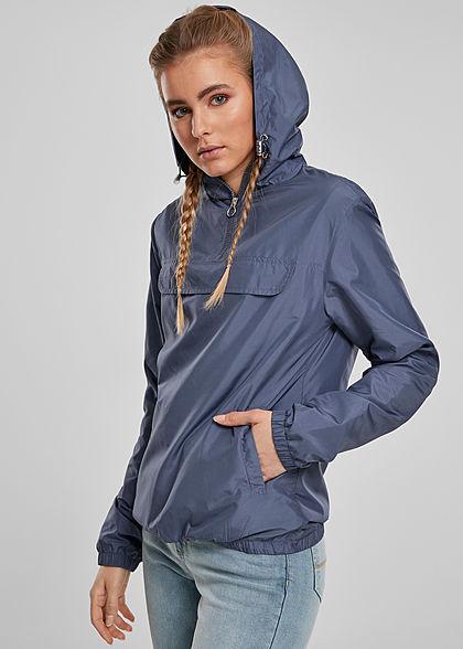 Urban Classics Damen Pull Over Jacke Windbreaker Kapuze Deko Tasche vorne vintage blau