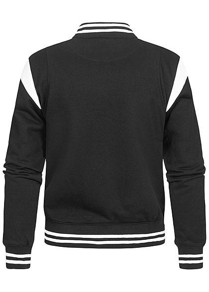 Urban Classics Damen College Sweat Jacke Druckknopfleiste Kontraststreifen schwarz weiss