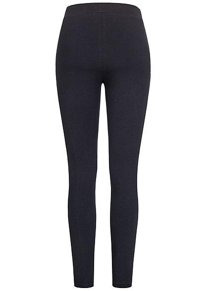 Urban Classics Damen Leggings mit Spitzenband seitlich Gummibund schwarz