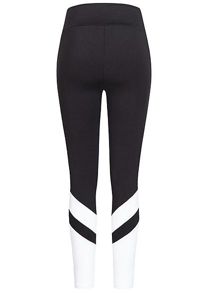 Urban Classics Damen 2-Tone High-Waist Leggings im Arrow Look schwarz weiss