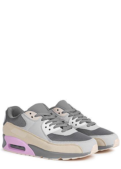 Seventyseven Lifestyle Damen Schuh Colorblock Sneaker beige grau rosa