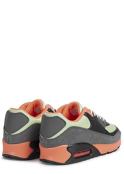 Seventyseven Lifestyle Damen Schuh Colorblock Sneaker neon orange grün grau