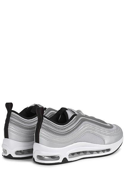 Seventyseven Lifestyle Damen Schuh Materialmix Sneaker mit Meshdetails silber