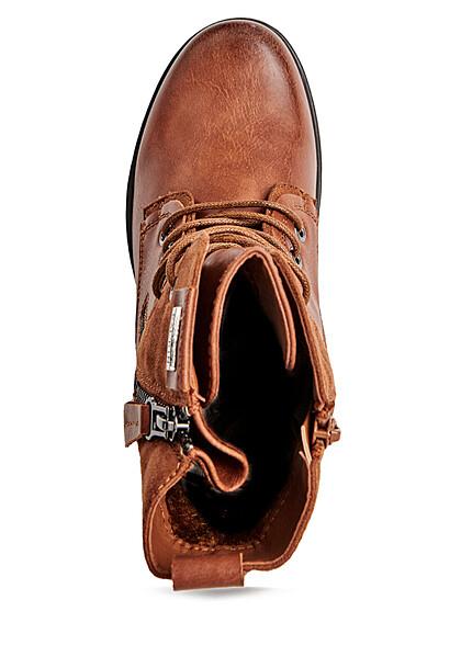 Seventyseven Lifestyle Damen Schuh Kunstleder Worker Boots Zipper seitlich camel braun