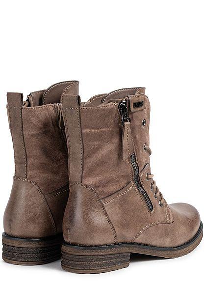 Seventyseven Lifestyle Damen Schuh Kunstleder Worker Boots Zipper seitlich khaki braun