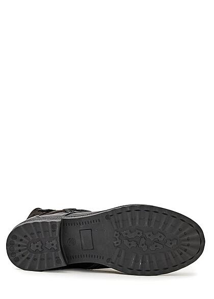 Seventyseven Lifestyle Damen Schuh Kunstleder Worker Boots Zipper seitlich schwarz