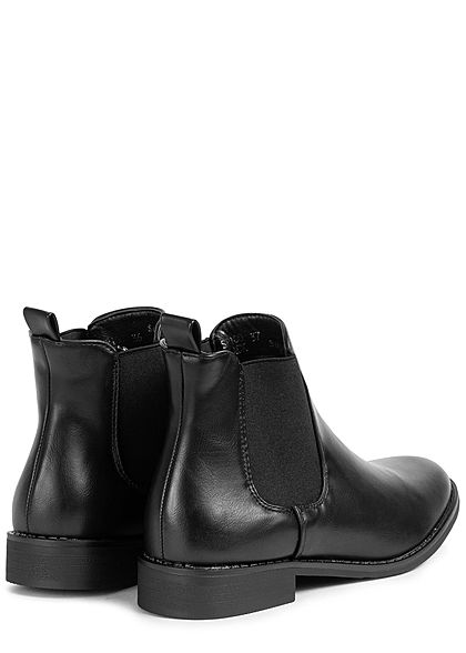 Seventyseven Lifestyle Damen Schuh Kunstleder Stiefelette mit elastischem Band schwarz