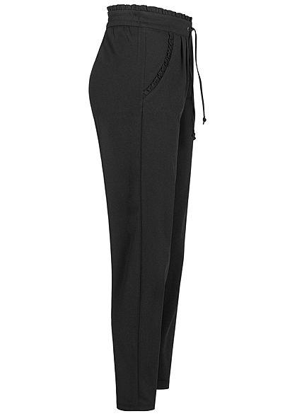 JDY by ONLY Damen NOOS Stoffhose 2-Pockets Tunnelzug Frilldetails am Saum schwarz