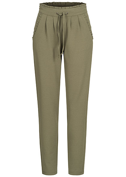 JDY by ONLY Damen NOOS Stoffhose 2-Pockets Tunnelzug Frilldetails am Saum kalamata