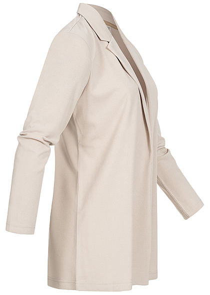 JDY by ONLY Damen NOOS Long Blazer Cardigan offener Schnitt Chateau Gray beige