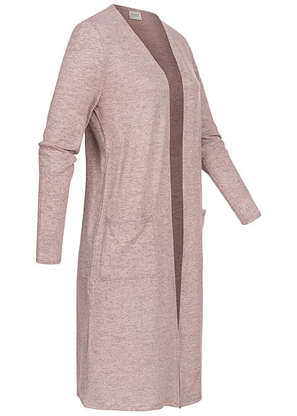 JDY by ONLY Damen Solid Longform Cardigan 2-Pockets offener Schnitt adobe rosa mel