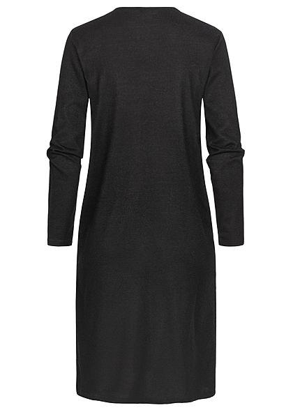 JDY by ONLY Damen Solid Longform Cardigan 2-Pockets offener Schnitt schwarz