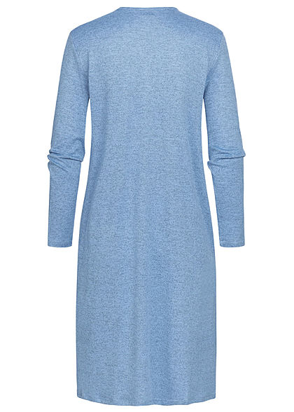 JDY by ONLY Damen Solid Longform Cardigan 2-Pockets offener Schnitt lichen blau