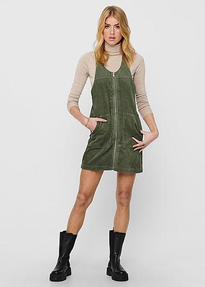 JDY by ONLY Damen Mini Cord Jeans Kleid mit Zipper vone 2-Pockets kalamata oliv grün