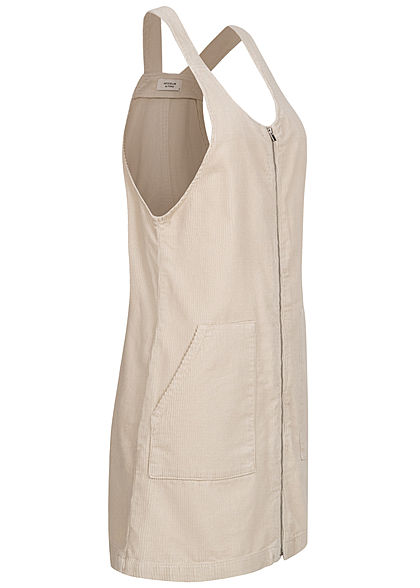 JDY by ONLY Damen Mini Cord Jeans Kleid mit Zipper vone 2-Pockets silver birch beige