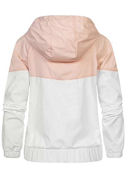 Urban Classics Damen Pull Over Jacke Windbreaker Arrow Print hell pink weiss