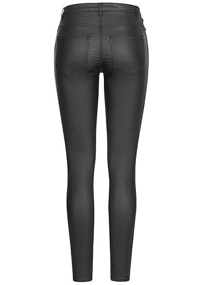 JDY by ONLY Damen NOOS Coated Kunstleder Skinny Hose 2 Deko Taschen High-Waist schwarz